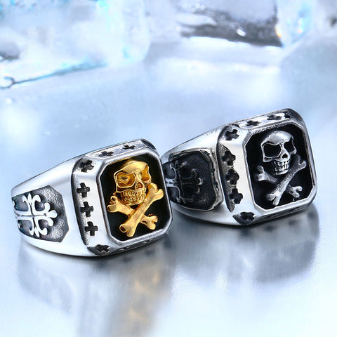 Signet Pirate Skull Ring