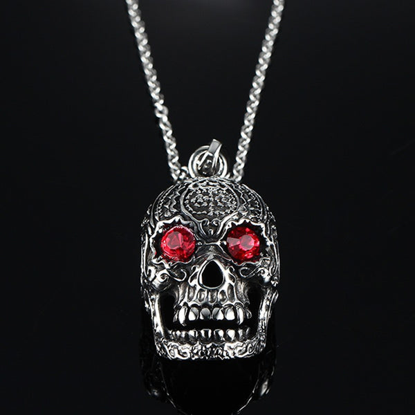 Stainless Steel Red Eyes Skull Necklace