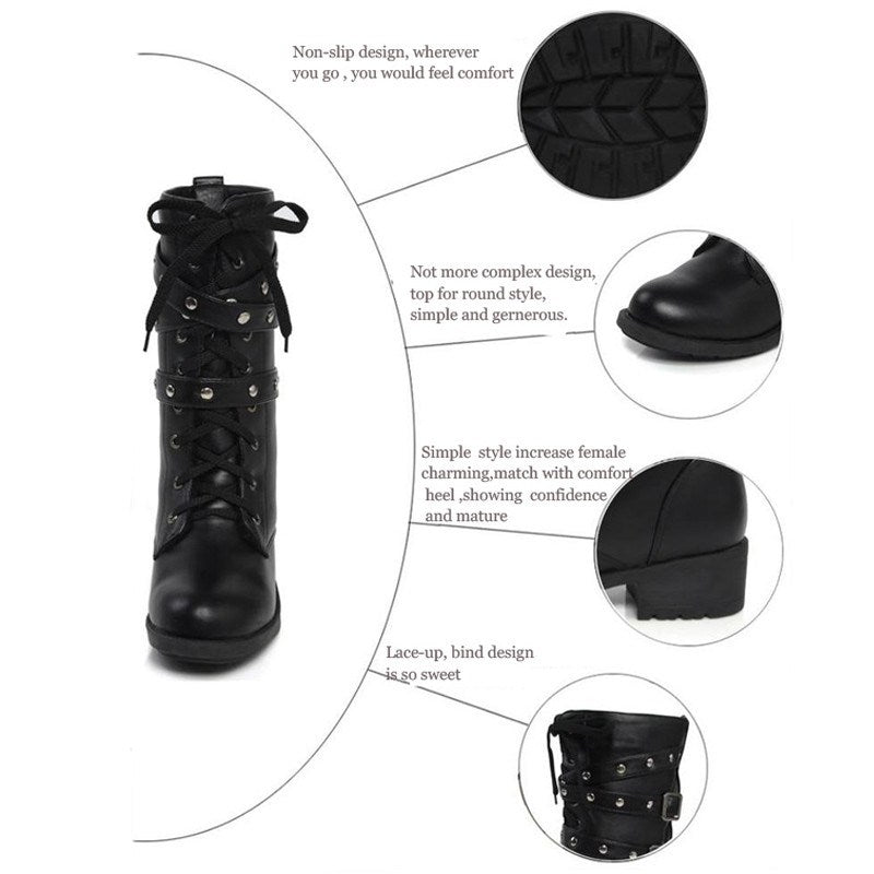 Boots - Vintage Stud Buckle Strap Motorcycle Boots