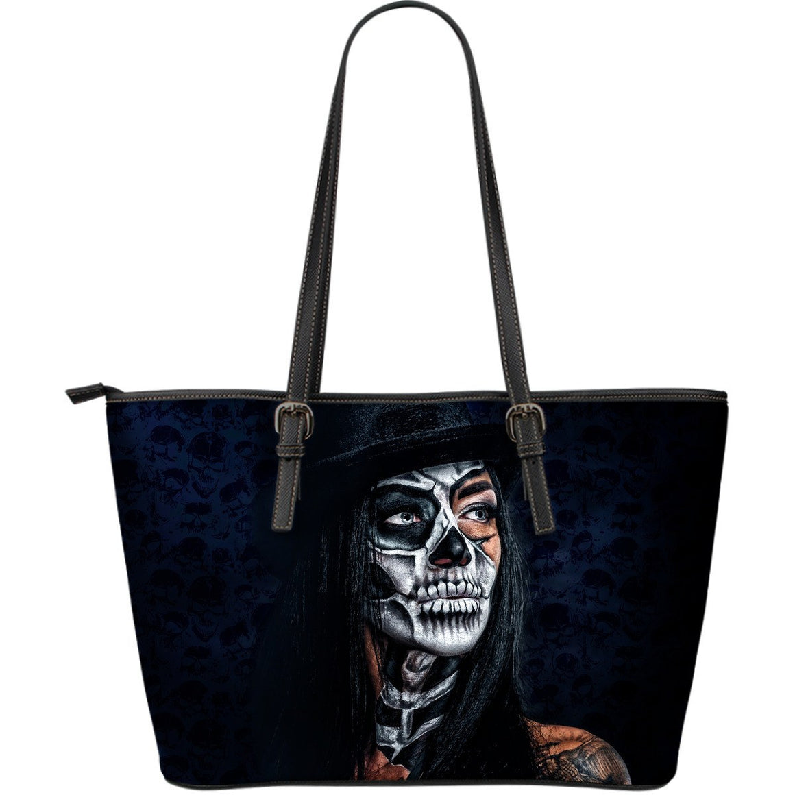 Large Leather Tote Bag - Lady Skull Leather Tote Bag