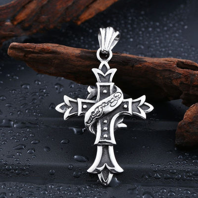 Necklace - Stainless Steel Gothic Cross Necklace