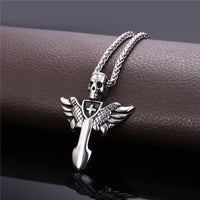 Necklace - Vintage Wings Skeleton Cross Necklace