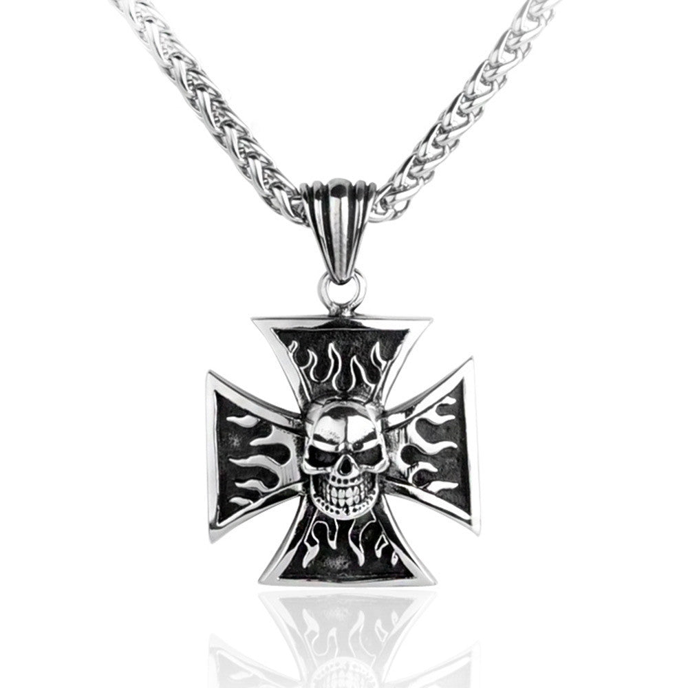 Wolfgang Ryujin [APPROVED, 3-5+] Necklaces-biker-iron-flame-cross-skull-necklace-1
