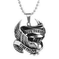Necklaces - Live To Ride, Ride To Live Stainless Steel Necklace