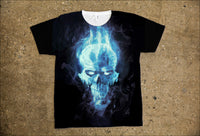 T-Shirts - Blue Smoking Skull