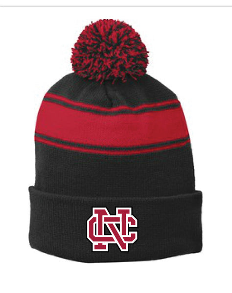 North Catholic Winter Hats - Black and Red Striped Beanie with Pom-Pom