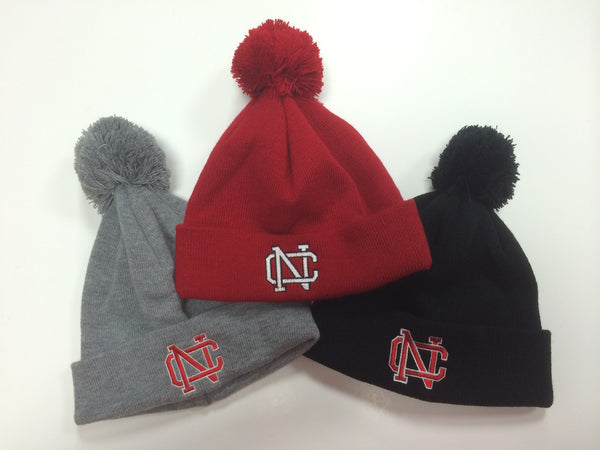 North Catholic Winter Hats - Solid Beanie with Pom-Pom