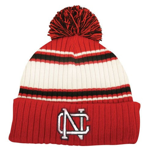 North Catholic Winter Hats - Jacquard Striped Beanie with Pom-Pom
