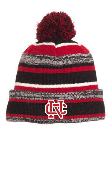 New Era NC Sideline Striped Beanie with Pom-Pom