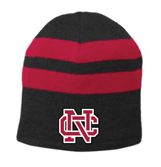 fc5972869a7 North Catholic Winter Hats - Black Striped Skull Cap
