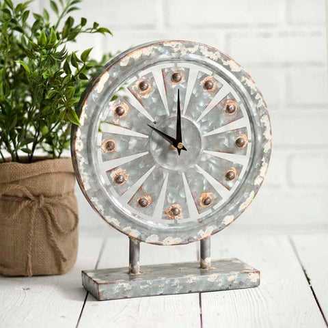 Rustic Metal Windmill Tabletop Clock - Rustic Lane Boutique
