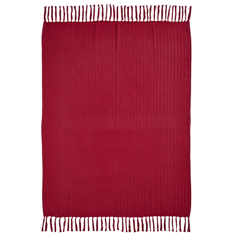 Classic Christmas Red Woven Throw 60x50 - Rustic Lane Boutique