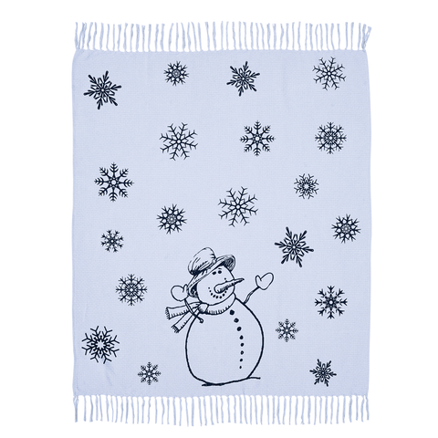 Happy Snowman Woven Throw 60x50 - Rustic Lane Boutique