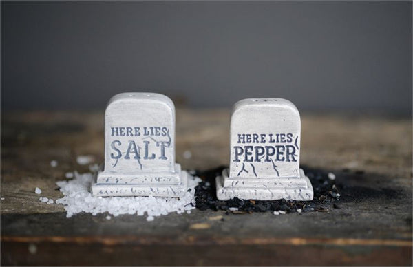 Ceramic Tombstone Salt &Pepper Shakers - Rustic Lane Boutique