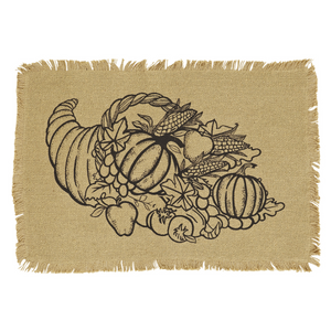 Giving Thanks Burlap Placemat with Cornucopia Set 2-12x18 - Rustic Lane Boutique