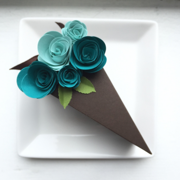 Paper Cake Favor Boxes with Blue Paper Flowers