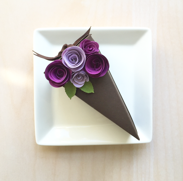 Paper Cake Favor Boxes With Purple Paper Flowers