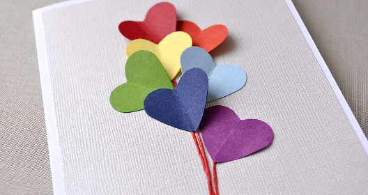 Love is in the air, rainbow heart card