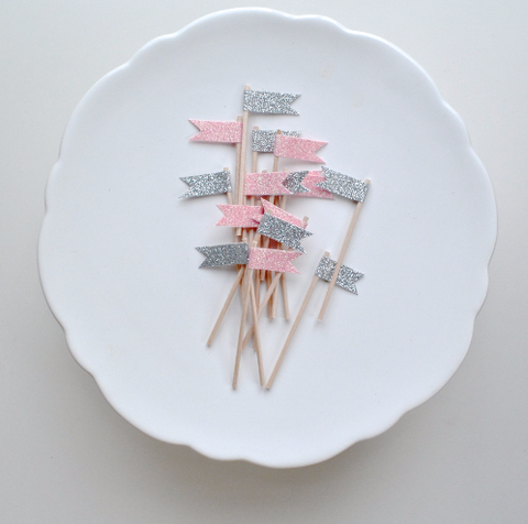 Oh little darling cupcake toppers in light pink and silver