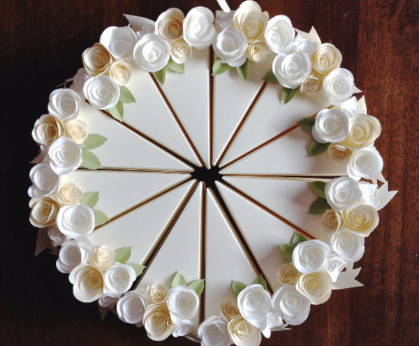 Paper Cake Boxes With Cream And White Flowers
