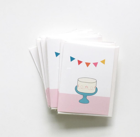 Birthday Cake And Bunting Celebratory Card