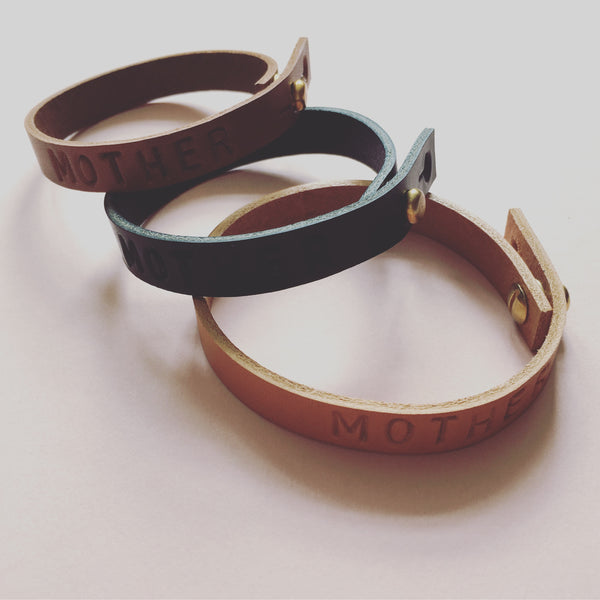 KONOC personalised leather bracelets (3 colours)