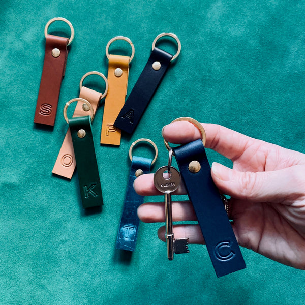 ROLLER INITIAL leather keyrings