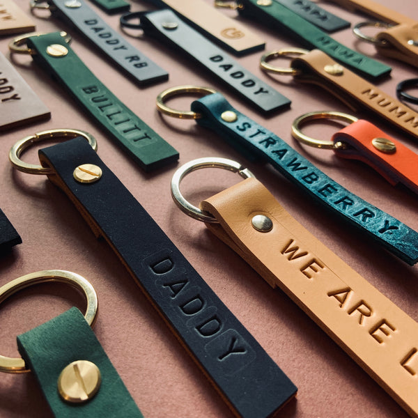 ROLLER Personalised leather keyrings