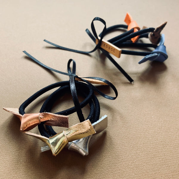 Leather tied hairbands (set of three)