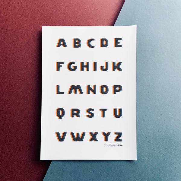 Typo Alphabet print - Blue & Orange