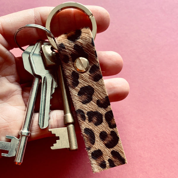 Leopard/Spotty print leather Roller Keyring