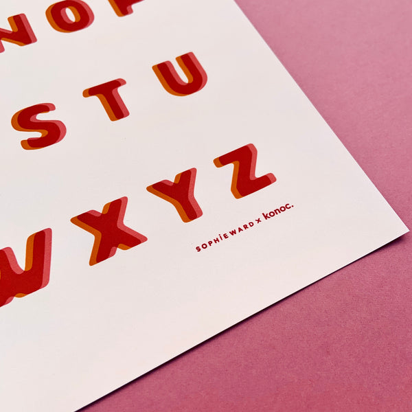 Typo Alphabet print - Pink & Orange