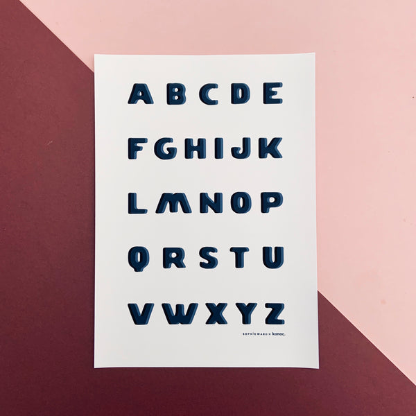 Typo Alphabet print - Blue & Black