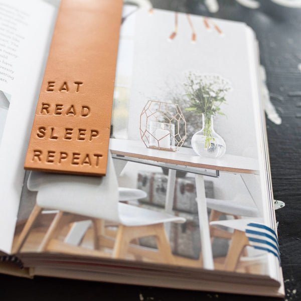 """EAT READ SLEEP REPEAT"" Leather Bookmark"