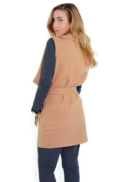 Kathie Sleeveless Coat - Camel