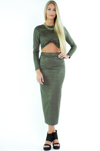 Tiffany Suede Skirt Set