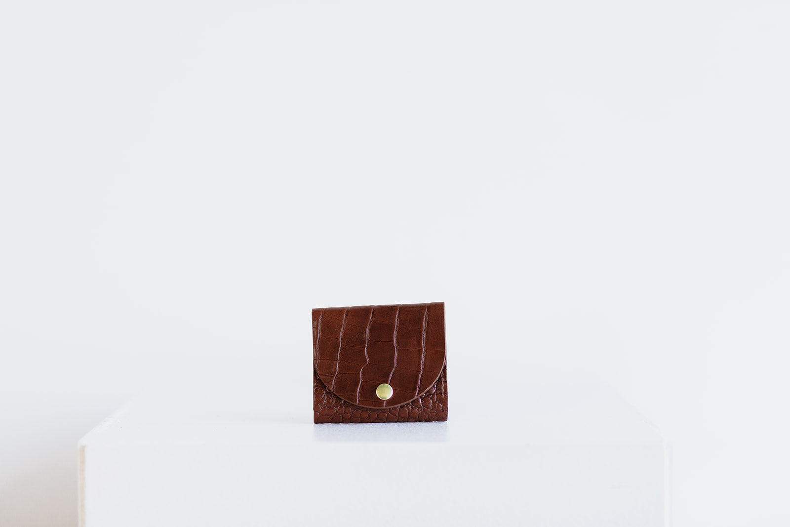 MINI WALLET - BROWN CROC EMBOSS