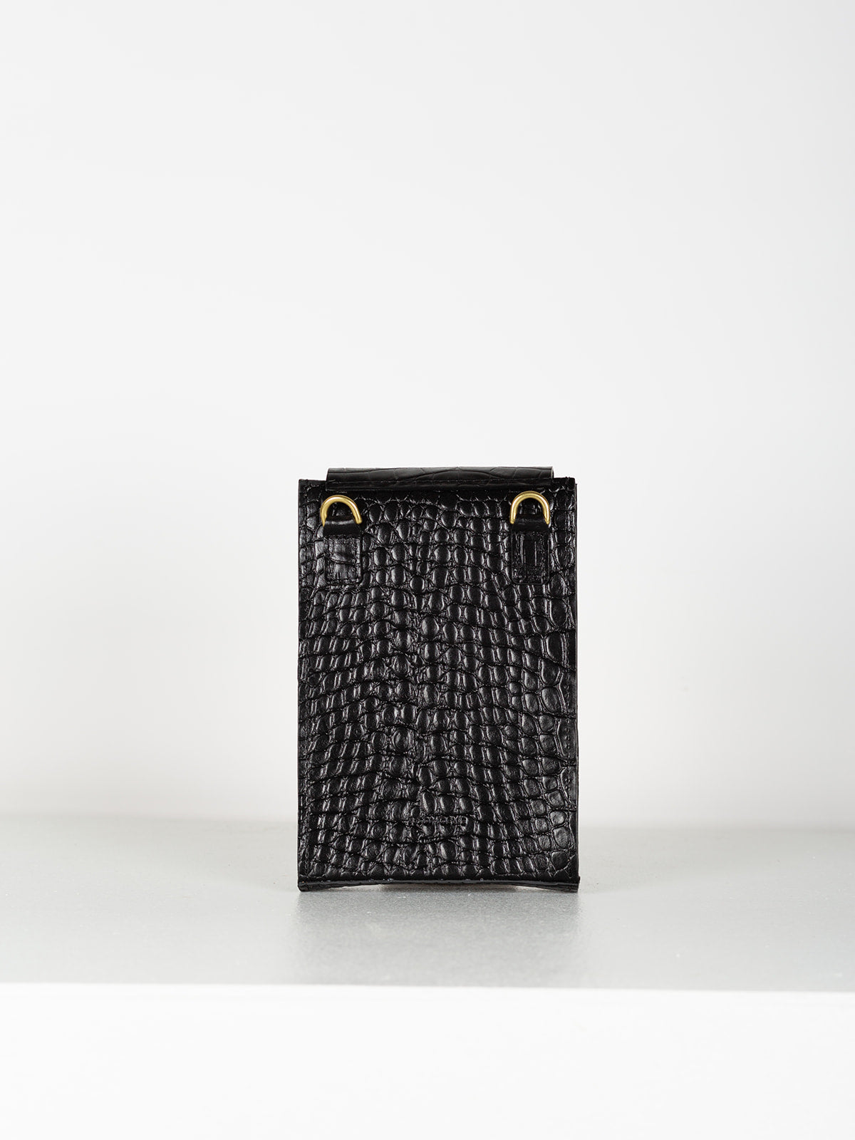 SIGNATURE BOX CROSSBODY - BLACK CROC EMBOSS