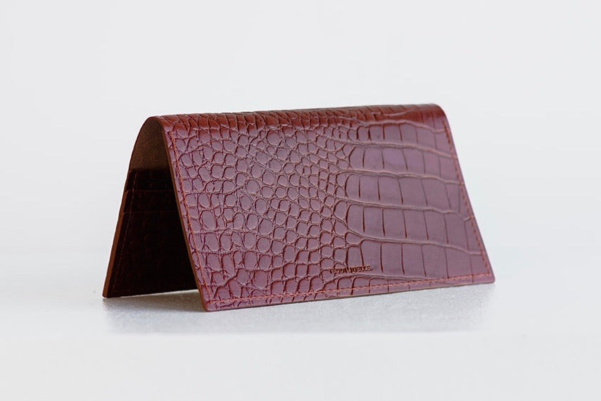 ESSENTIALS WALLET - BROWN CROC EMBOSS