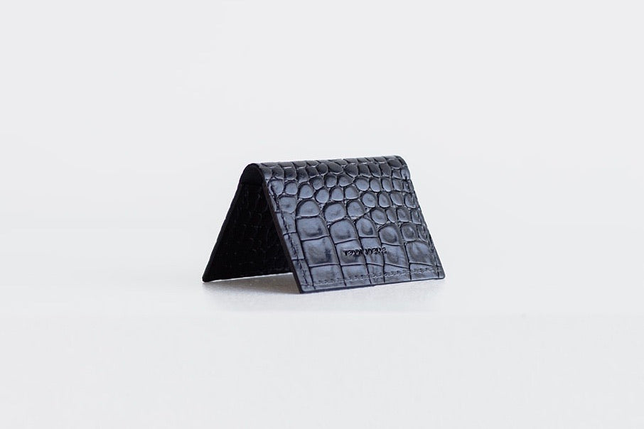 FOLDING POCKET WALLET - BLACK CROC EMBOSS