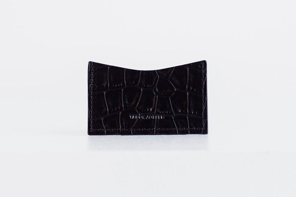 POCKET WALLET - BLACK CROC EMBOSS