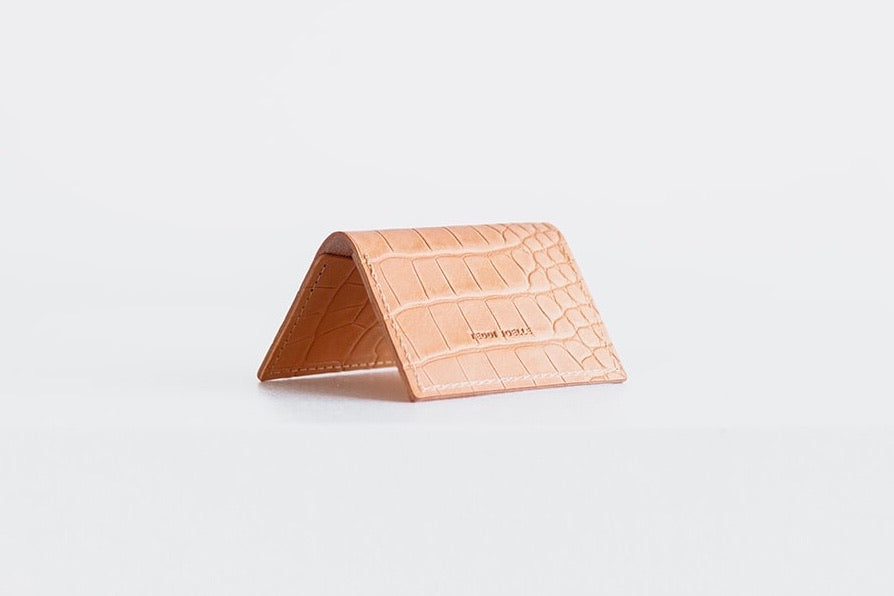 FOLDING POCKET WALLET - UNDYED NATURAL CROC EMBOSS