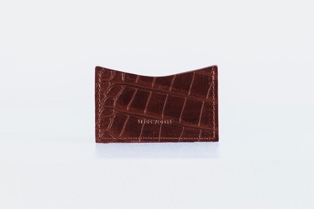 POCKET WALLET - BROWN CROC EMBOSS