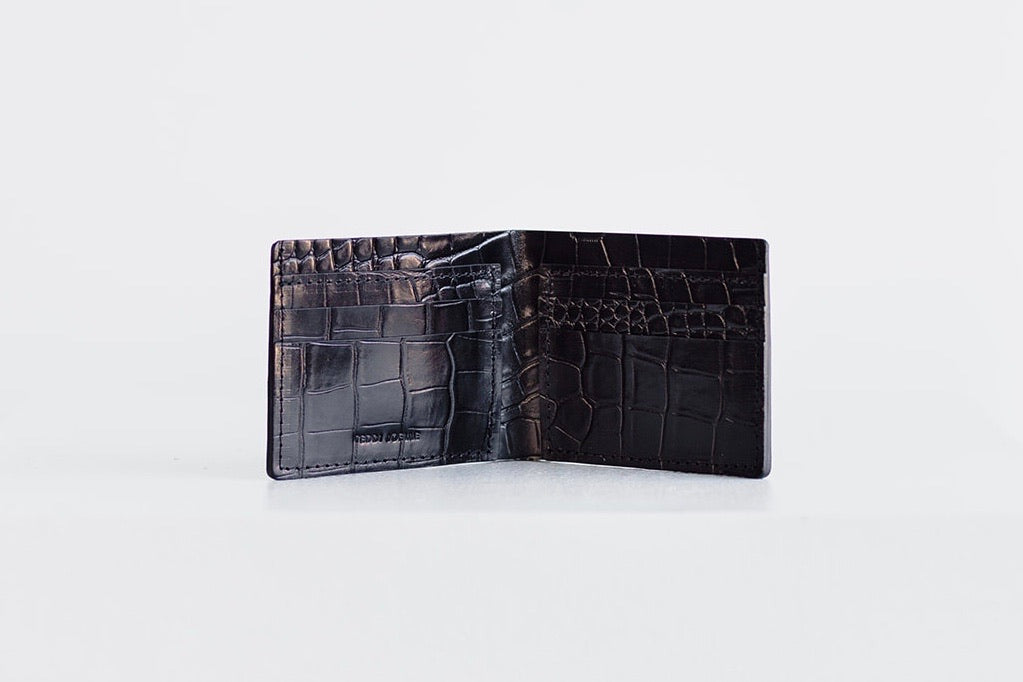 BILLFOLD WALLET - BLACK CROC EMBOSS