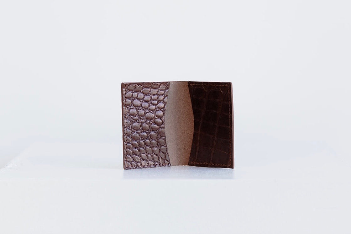 FOLDING POCKET WALLET - BROWN CROC EMBOSS