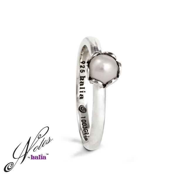 White Fresh Water Pearl Deep Waters Pearl Stacking Ring Sterling Silver Notes by Halia