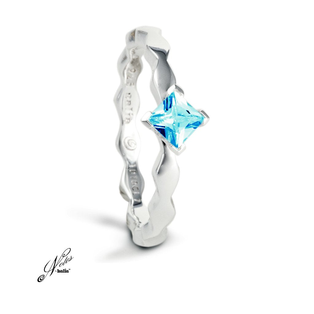 Blue Topaz Fancy Fierce Stacking Ring Sterling Silver Notes by Halia