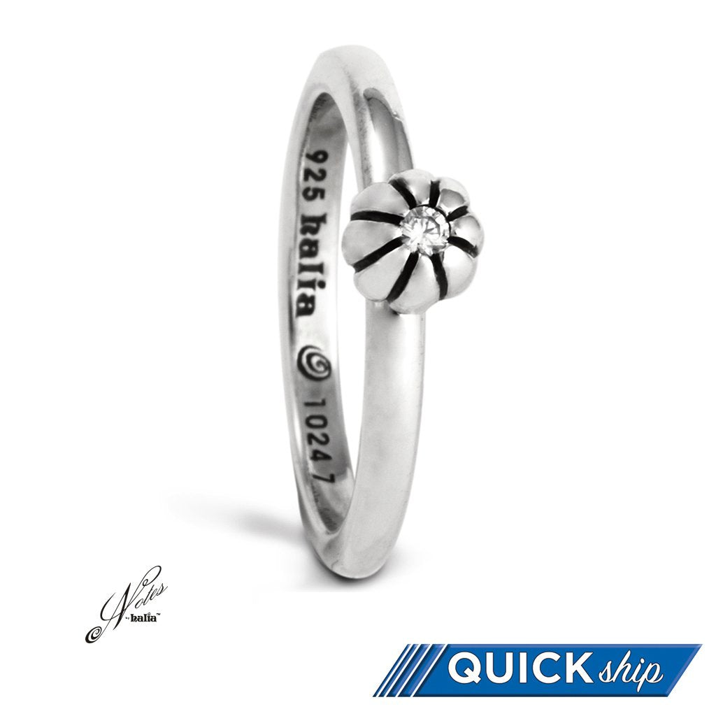 Cubic Build Me Up Buttercup Stacking Ring Sterling Silver Notes by Halia - Quick Ship
