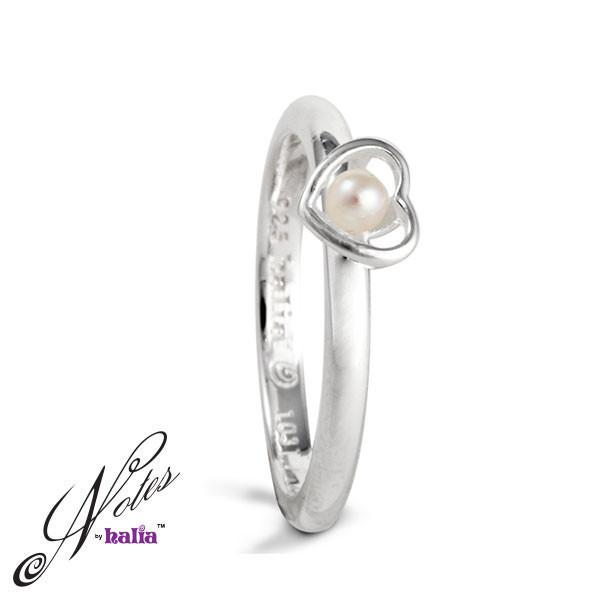 Deepest Hope Pearl Stacking Ring Sterling Silver Notes by Halia