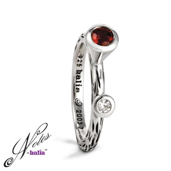 Garnet & Cubic Different Drummer Stacking Ring Sterling Silver Notes by Halia